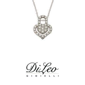 DI LEO Girocollo cuore con diamanti ct compl. 0,26 oro bianco 18 KT Daydream64/04