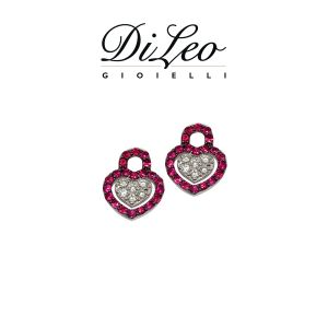 DI LEO Orecchini con diamanti ct compl. 0,14 oro bianco 18 KT e rubino Daydream65/02