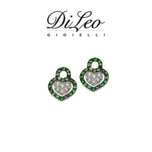 DI LEO Orecchini con diamanti ct compl. 0,14 oro bianco 18 KT e tsavorite Daydream65/03