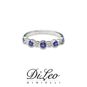 DI LEO Anello Fedina con zaffiro con diamanti ct compl. 0,04Daydream70/01