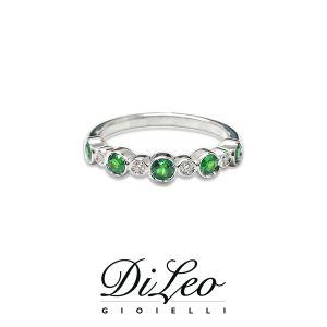 DI LEO Anello Fedina con smeraldi con diamanti ct compl. 0,04 Daydream70/03