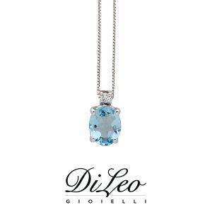 DI LEO Girocollo con Acquamarina e diamanti oro bianco 18 KT Daydream73/03
