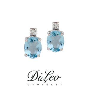 DI LEO Orecchini con diamanti ct compl. 0,02 e Acquamarina oro bianco 18 KT Daydream74/01