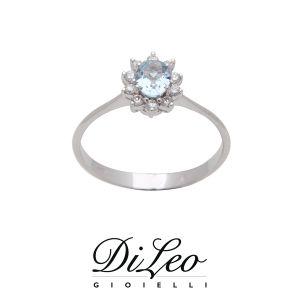 DI LEO Anello con diamanti ct compl. 0,15 e Acquamarina oro bianco 18 KT Daydream75/02