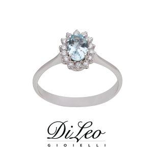 DI LEO Anello con diamanti ct compl. 0,18 e Acquamarina oro bianco 18 KT Daydream75/03
