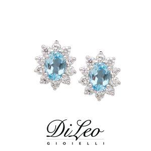 DI LEO Orecchini con diamanti ct compl. 0,30 e Acquamarina oro bianco 18 KT Daydream76/01