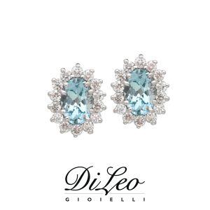 DI LEO Orecchini con diamanti ct compl. 0,36 e Acquamarina oro bianco 18 KT Daydream76/03