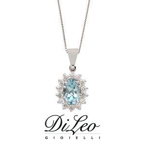 DI LEO Girocollo con diamanti ct compl. 0,18 e Acquamarina oro bianco 18 KT Daydream76/04