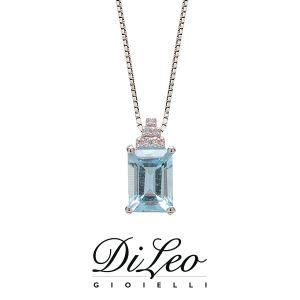 DI LEO Girocollo con Acquamarina e diamanti oro bianco 18 KT Daydream83/03