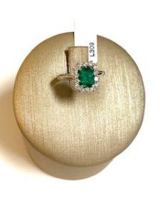 PALMA GIOIELLI Anello Smeraldo Naturale e Diamanti L309