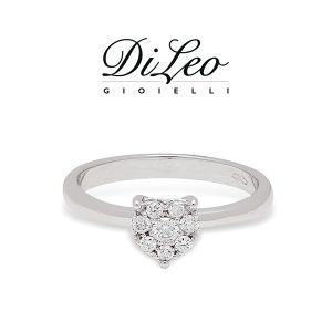 DI LEO Anello cuore con diamanti ct compl. 0,10 oro bianco 18 KT Daydream21/01