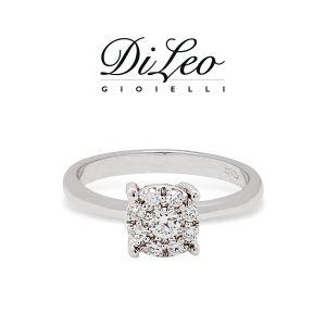 DI LEO Anello con diamanti ct compl. 0,14 oro bianco 18 KT Daydream21/04