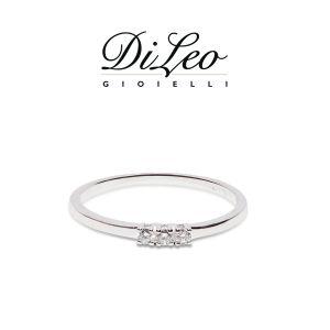 DI LEO Anello Trilogy con diamanti ct compl. 0,20 oro bianco 18 KT Daydream31/01