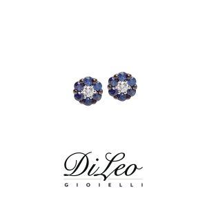 DI LEO Orecchini con diamanti ct compl. 0,06 e zaffiro oro bianco 18 KT Daydream59/01