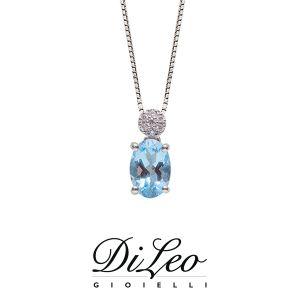 DI LEO Girocollo con diamanti ct compl. 0,03 e Acquamarina oro bianco 18 KT Daydream80/02