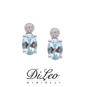 DI LEO Orecchini con diamanti ct compl. 0,06 e Acquamarina oro bianco 18 KT Daydream81/01