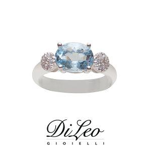 DI LEO Anello con diamanti ct compl. 0,06 e Acquamarina oro bianco 18 KT Daydream82/01