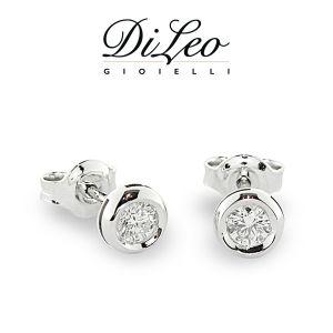DI LEO Orecchini Punto luce con diamanti ct compl. 0,16 oro bianco 18 KT Daydream01/06