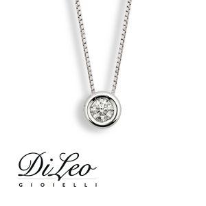 DI LEO Girocollo Punto luce con diamanti ct compl. 0,15 oro bianco 18 KT Daydream02/08