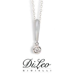 DI LEO Girocollo Punto luce con diamanti ct compl. 0,07 oro bianco 18 KT Daydream04/03