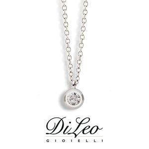 DI LEO Girocollo Punto luce con diamanti ct compl. 0,03 oro bianco 18 KT Daydream05/01