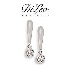 DI LEO Orecchini Punto luce con diamanti ct compl. 0,10 oro bianco 18 KT Daydream06/02
