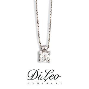 DI LEO Girocollo Punto luce con diamanti ct compl. 0,12 oro bianco 18 KT Daydream09/01