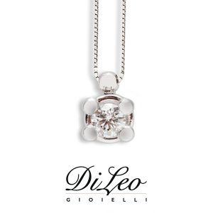 DI LEO Girocollo Punto luce con diamanti ct compl. 0,10 oro bianco 18 KT Daydream11/02