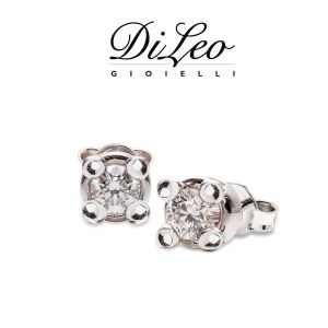 DI LEO Orecchini Punto luce con diamanti ct compl. 0,12 oro bianco 18 KT Daydream12/01