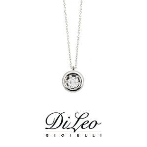 DI LEO Girocollo Punto luce con diamanti ct compl. 0,15 oro bianco 18 KT Daydream13/05
