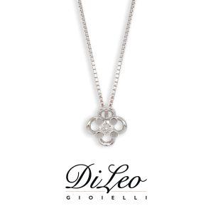 DI LEO Girocollo Punto luce fiore con diamanti ct compl. 0,10 oro bianco 18 KT Daydream15/03