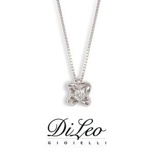 DI LEO Girocollo Punto luce fiore con diamanti ct compl. 0,12 oro bianco 18 KT Daydream16/04
