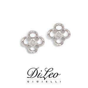 DI LEO Orecchini Punto luce fiore con diamanti ct compl. 0,30 oro bianco 18 KT Daydream17/05