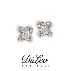 DI LEO Orecchini Punto luce fiore con diamanti ct compl. 0,24 oro bianco 18 KT Daydream18/04
