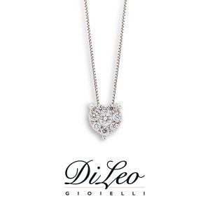 DI LEO Girocollo cuore con diamanti ct compl. 0,20 oro bianco 18 KT Daydream19/02