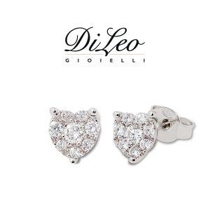 DI LEO Orecchini cuore con diamanti ct compl. 0,40 oro bianco 18 KT Daydream20/02