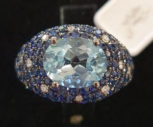 PALMA GIOIELLI Anello Topazio azzurro con Zaffiri e Diamanti K2