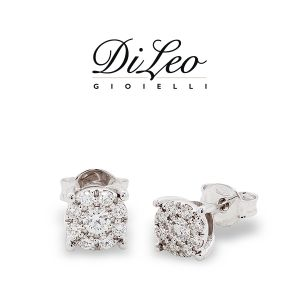 DI LEO Orecchini tondo con diamanti ct compl. 0,29 oro bianco 18 KT Daydream20/04