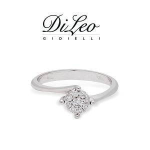 DI LEO Anello con diamanti ct compl. 0,15 oro bianco 18 KT Daydream22/02