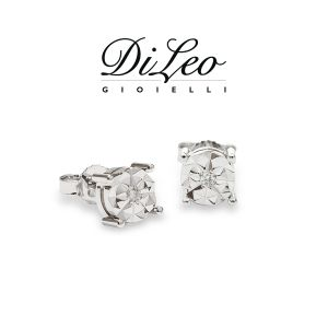 DI LEO Orecchini illusione con diamanti ct compl. 0,06 oro bianco 18 KT Daydream23/03