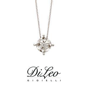 DI LEO Girocollo illusione con diamanti ct compl. 0,03 oro bianco 18 KT Daydream24/03