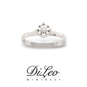 DI LEO Anello illusione con diamanti ct compl. 0,03 oro bianco 18 KT Daydream25/03