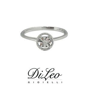 DI LEO Anello Solitario illusione con diamanti ct compl. 0,02 oro bianco 18 KT Daydream27/01