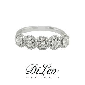 DI LEO Anello Fedina illusione con diamanti ct compl. 0,07 oro bianco 18 KT Daydream27/03