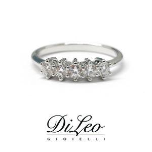 DI LEO Anello Fedina con diamanti ct compl. 0,12 oro bianco 18 KT Daydream28/02