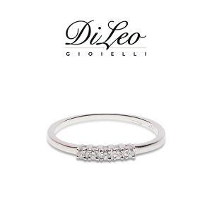 DI LEO Anello Fedina con diamanti ct compl. 0,12 oro bianco 18 KT Daydream29/02