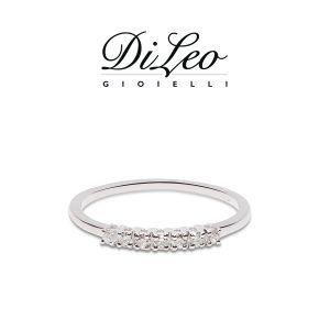 DI LEO Anello Fedina con diamanti ct compl. 0,16 oro bianco 18 KT Daydream29/03