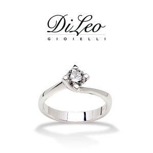 DI LEO Anello Solitario con diamanti ct compl. 0,07 oro bianco 18 KT Daydream32/02