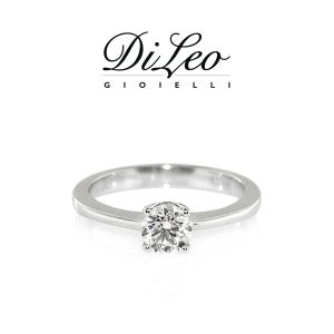 DI LEO Anello Solitario con diamanti ct compl. 0,07 oro bianco 18 KT Daydream34/02