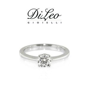 DI LEO Anello Solitario con diamanti ct compl. 0,10 oro bianco 18 KT Daydream34/03